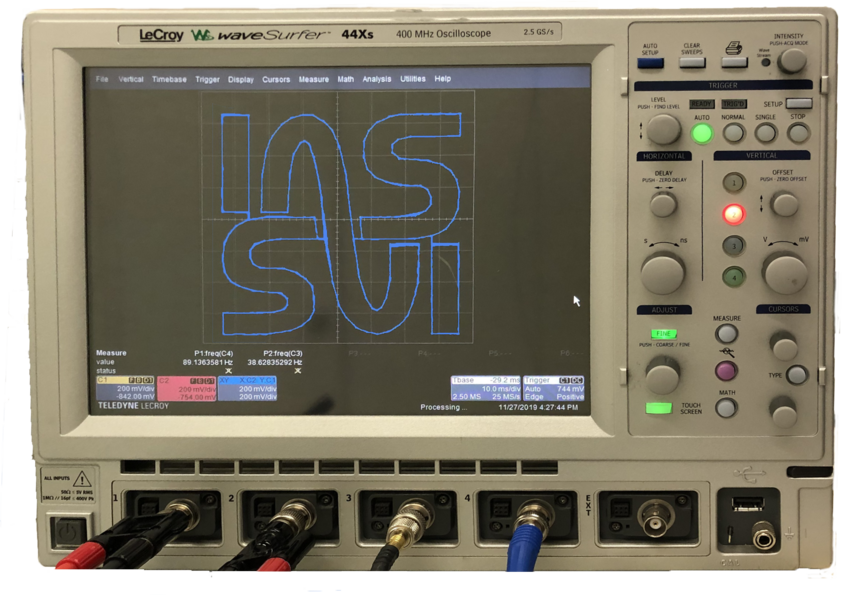 XY graph on an oscilloscope showing the IAS logo